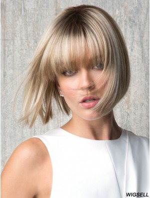 With Bangs Blonde Straight 8 inch Chin Length Synthetic Wigs