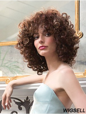Curly Wig Mono Cap Cheap Synthetic Wig For Ladies Shoulder Length