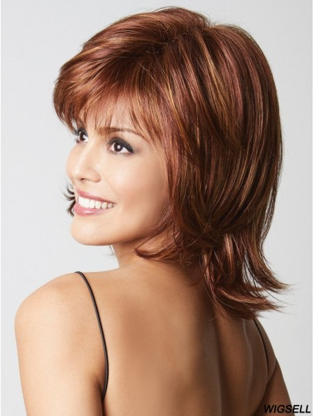 Capless Auburn 12 inch Chin Length Layered Synthetic Wigs