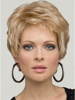 Blonde Cropped Wig Boycuts Short Wig Synthetic Wig UK For Ladies New