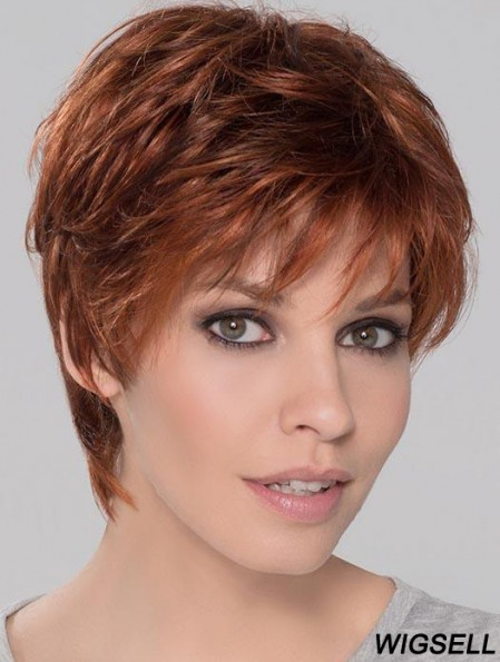 Synthetic Perfect Cropped Auburn Wavy Monofilament Wigs