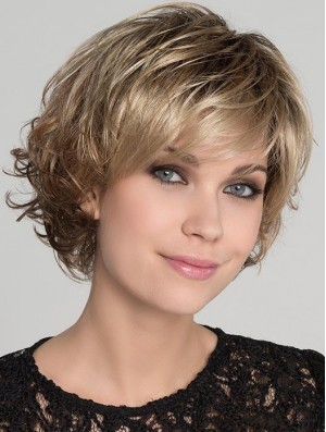 Blonde Wig Bob Cut Wavy Wig UK For Sale 8 Inch
