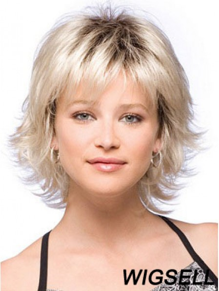 Blonde Wig Chin Length Wig With Bangs Cheap Flipped Synthetic Wig UK
