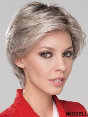 6 inch Short Fashionable Monofilament Wavy Grey Wigs