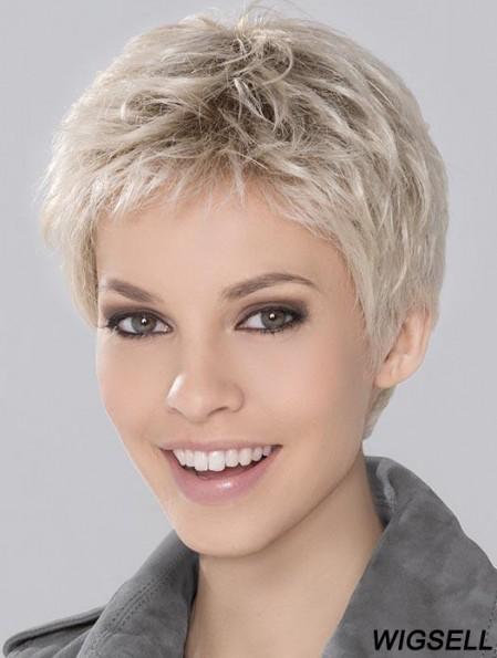 Monofilament Wigs Platinum Blonde Boycuts Wigs UK For Ladies