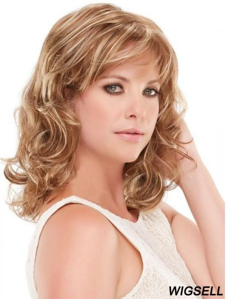 With Bangs Blonde Curly 14 inch Shoulder Length Synthetic Wigs