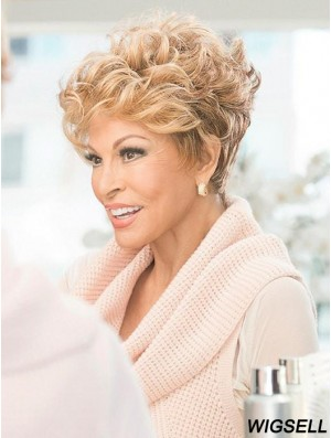Layered Blonde Curly 4 inch Cropped Synthetic Wigs For Sale