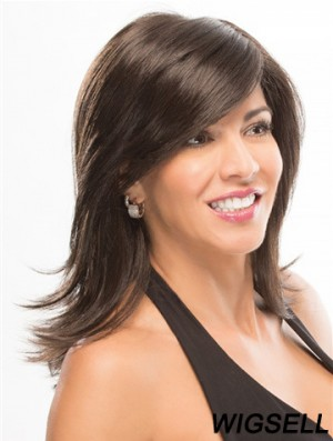 """With Bangs 14"""" Shoulder Length Straight Good Medium Wigs"""
