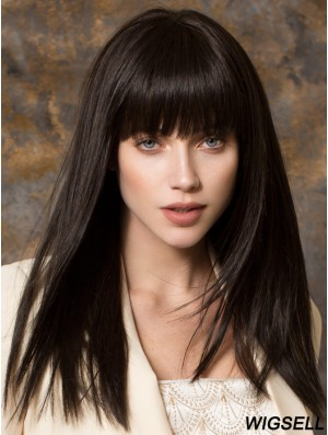 Best Synthetic Wigs With Bangs Monofilament Straight Style Black Color