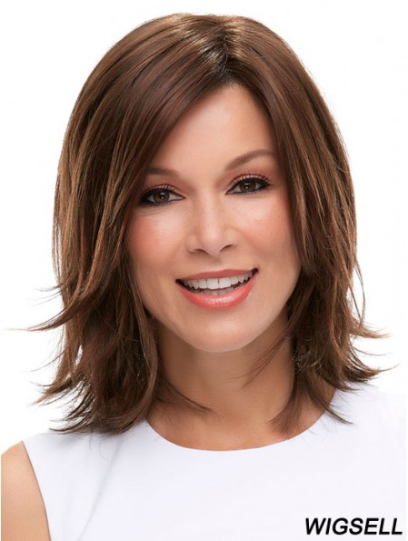Brown Shoulder Length Straight Layered 12 inch Ideal Medium Wigs