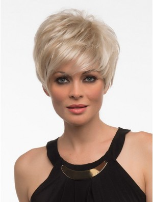 Short Synthetic Wigs With Bangs Blonde Color Straight Style