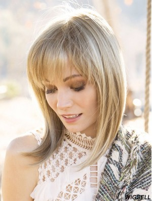 """Blonde 14"""" With Bangs Shoulder Length Amazing Monofilament Wigs"""