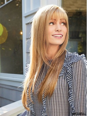 """Brown 18"""" With Bangs Long Cheap Monofilament Wigs"""