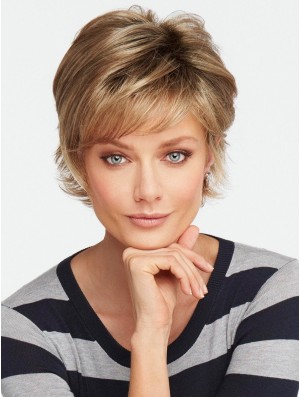 With Bangs Brown Wavy 4 inch Short Synthetic Wigs
