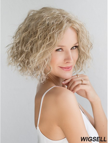 """Blonde Chin Length Curly Without Bangs 10"""" Fashionable Medium Wigs"""