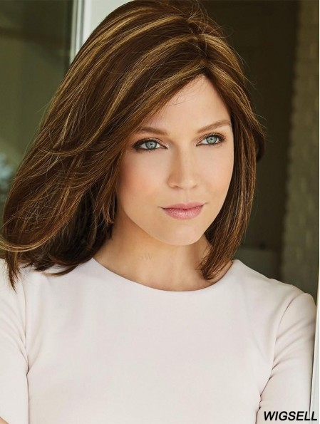 Brown 14 inch Without Bangs Shoulder Length High Quality Monofilament Wigs