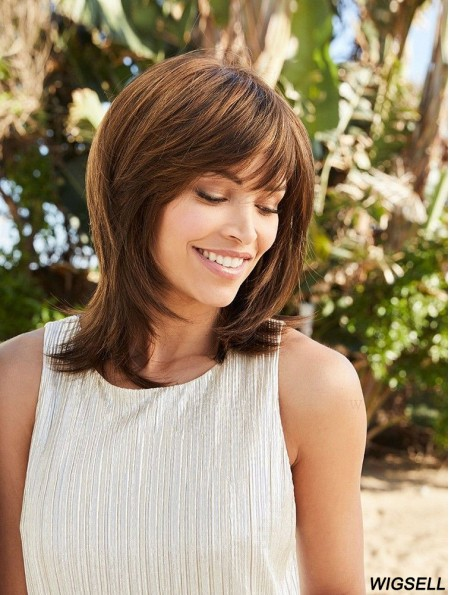 Brown 14 inch With Bangs Shoulder Length Modern Monofilament Wigs