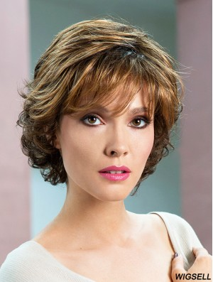 Wavy Short Wig UK Brown Color Women Wig Online