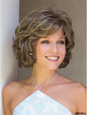 With Bangs Brown Curly 10 inch Chin Length Synthetic Wigs