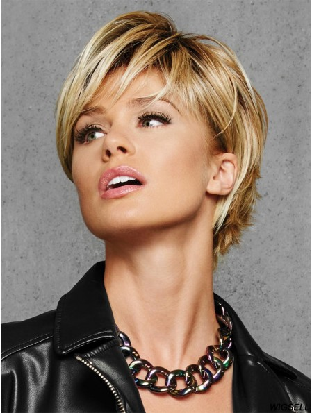 Blonde Layered Wig Cropped Short Wig For Women Synthetic 6 Inch
