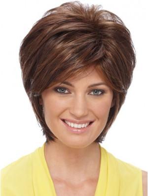 Sleek Synthetic Wigs Auburn Color Short Length Layered Style