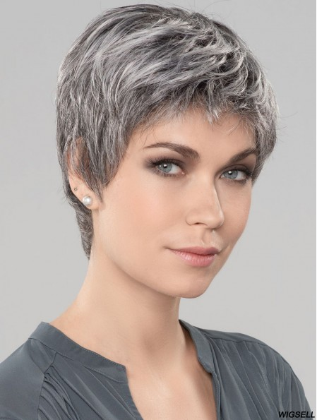 Straight Short 6 inch Monofilament Style Grey Wigs