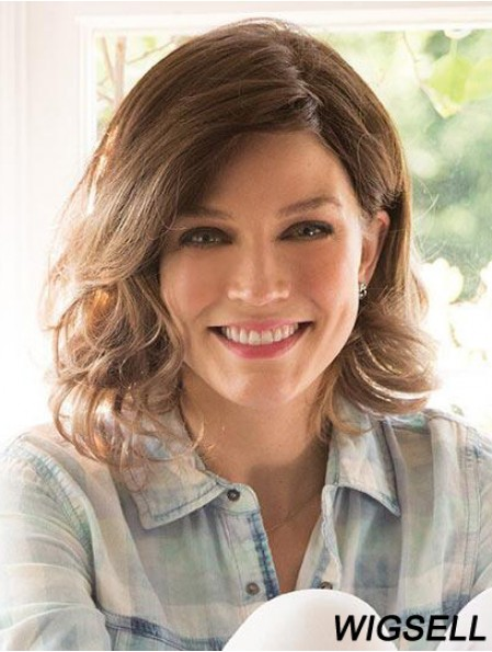 Brown Shoulder Length Curly Layered 12 inch Good Medium Wigs