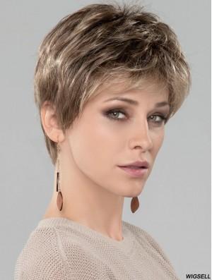 Blonde 4 inch Boycuts Cropped Discount Monofilament Wigs
