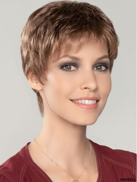 Straight Cropped 4 inch Auburn 100% Hand-tied Wigs