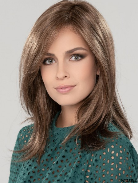 Straight Shoulder Length 14 inch Brown 100% Hand-tied Wigs