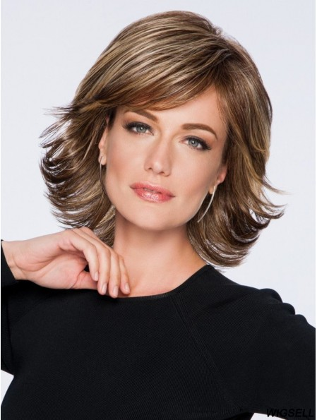 Capless 12 inch Wavy Brown Layered Synthetic Wigs Cheap