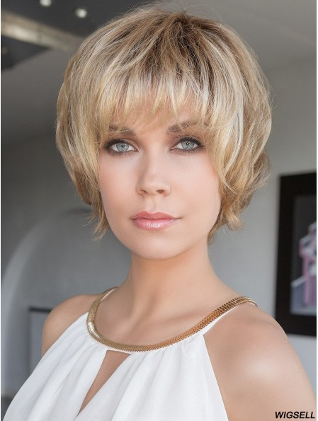 100% Hand-tied Brown 8 inch Short With Bangs High Heat Wigs