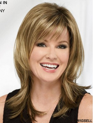 Blonde 16 inch Layered Sleek Capless Synthetic Wigs