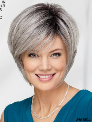Straight Chin Length 12 inch Capless Best Grey Wigs