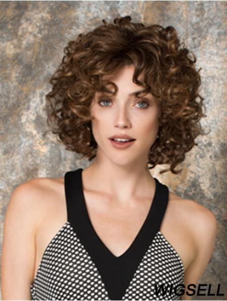 Curly With Bangs Chin Length Auburn Sassy Lace Front Wigs