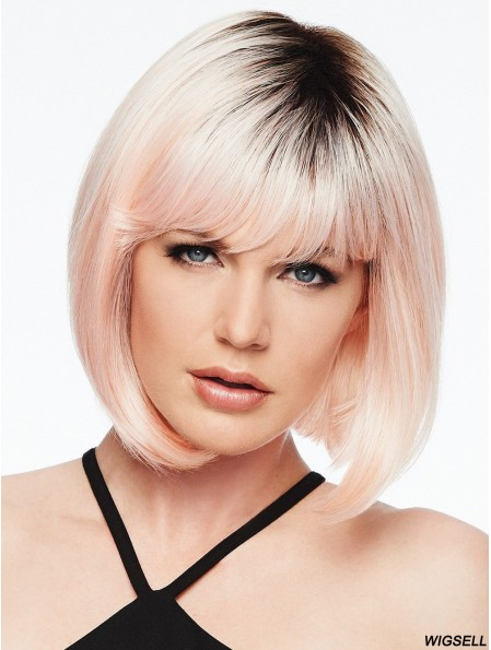 Capless Pink 10 inch Chin Length With Bangs Synthetic Wigs