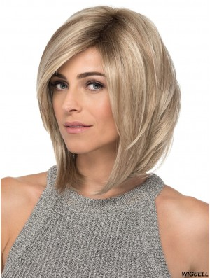 Lace Front 12 inch Straight Blonde With Bangs Ladies Wigs