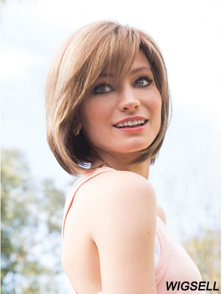 Monofilament Straight Bobs Chin Length Synthetic Custom Fit Wig Maker