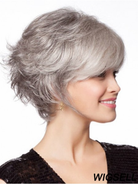 Monofilament Wig, Grey Hair Wig For Old Women Online Chin Length