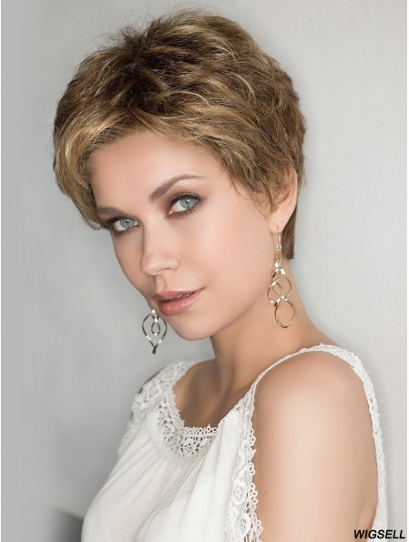 100% Hand-tied 4 inch Curly Blonde Boycuts Synthetic Wigs Women