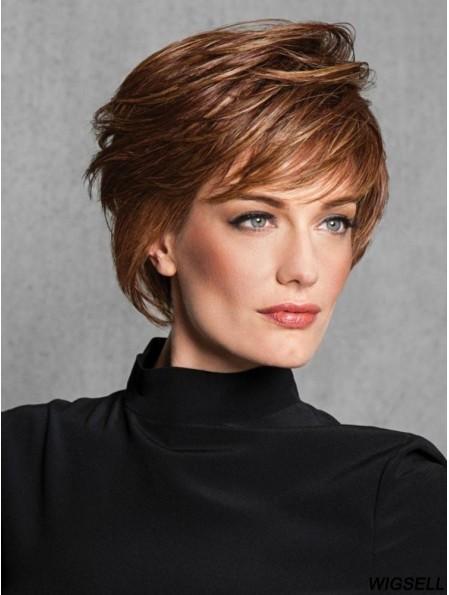 Layered Auburn Straight 6 inch Capless Layered Wig