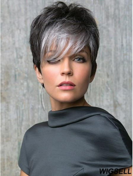 Lace Front 6 inch Straight Grey With Bangs Cheap Synthetic Wigs