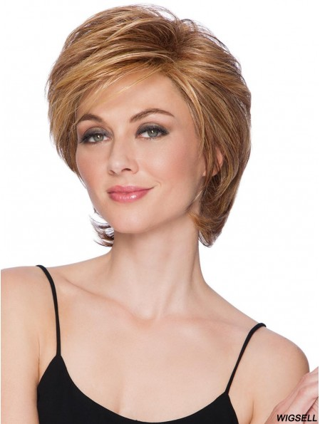 Capless Blonde 8 inch Short Layered Synthetic Wigs