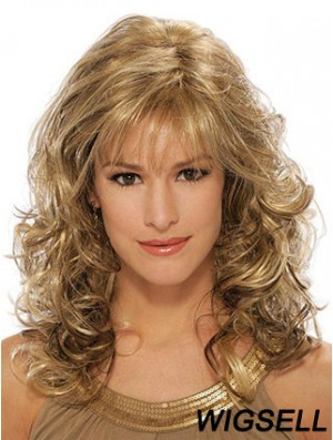 Wavy Synthetic Wigs Blonde Color Capless With Bangs