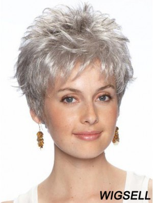 Short Grey Wig With Synthetic Lace Front Wavy Style Grey Cut