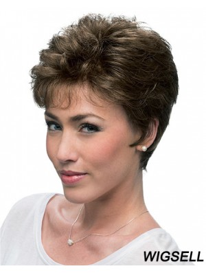 Cheap Brown Cropped Layered Curly Glueless Lace Front Wigs