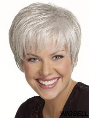 Gorgeous 6 inch Straight Grey Short Wigs