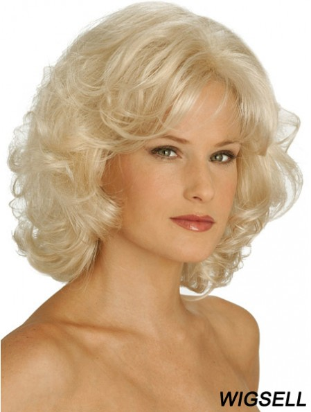 Wigs UK Synthetic Chin Length Blonde Color Curly Style