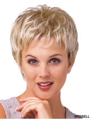 Best Synthetic Curly Wig Boycuts Cropped Length Blonde Color