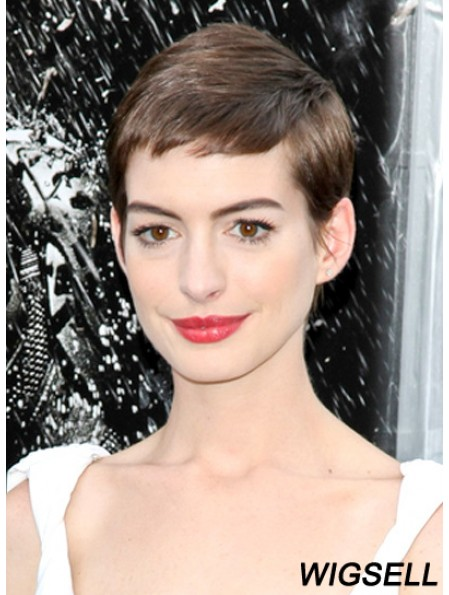 Cropped Lace Front Boycuts Brown Straight Anne Hathaway Wig